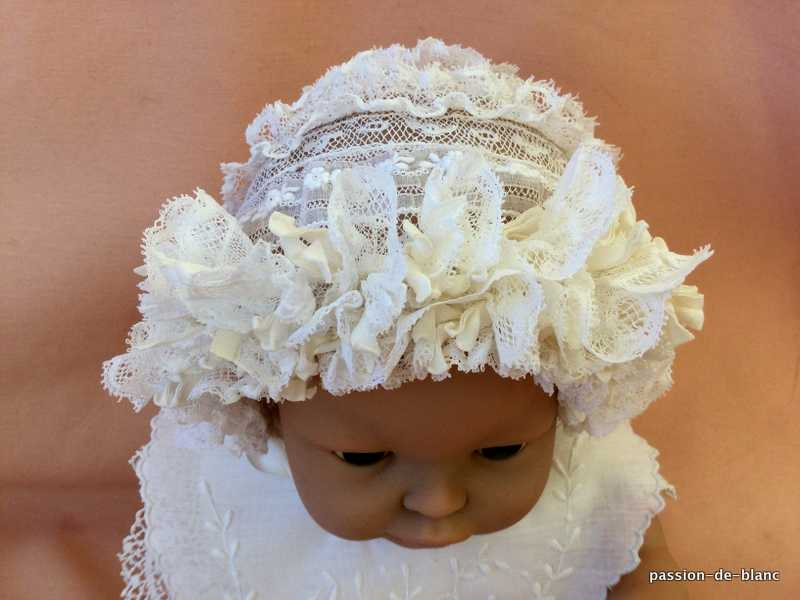 OLD LINEN / Wonderful baby hat with embroidered Valencian lace in between and silk satin ribbon